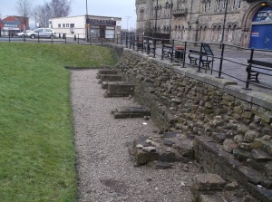 view of the defensive moat wall and buttresses